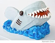 Shark Birthday Cake Design    How to make a shark birthday cake with mini-marshmallows with an easy, step-by-step recipe, diagrams and pictures.  31 Incredible Birthday Cake Designs, Step-by-step recipes, designs and color pics of the easiest (and cutest) birthday cakes for boys and girls.
