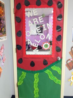 My preschool door decoration for August! Says: we are one in a melon!