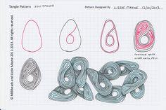 Soutache  Zentangle pattern, step by step.