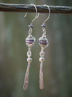 Purple Hammered Drops by whoozqueen wire jewellery, via Flickr