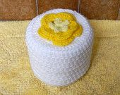 Cottage Rose Crochet Toilet Paper Cover, Sunshine Yellow Flower Bathroom Home Decor