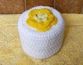 Cottage Rose Crochet Toilet Paper Cover, Sunshine Yellow Flower Bathroom Home Decor