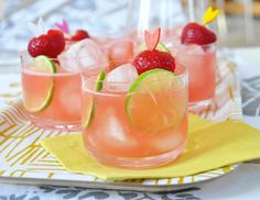 STRAWBERRY WATERMELON COOLER (serves 4):  4 oz Vodka; 1 oz Strawberry Liquor (any berry or pomegranate works); juice of 1 lime plus slices for garnish; 1 lb watermelon chunks; 2 cups ice plus more for glasses; strawberries for garnish.  Blend ingredients until frothy.  Pour over ice, garnish & sip until cool.