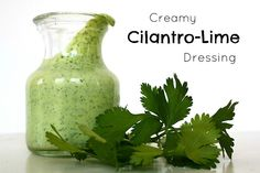 Creamy Cilantro-Lime Dressing. Healthy and great on salads, wraps, drizzled on tacos, or as a fun, flavorful veggie dip salad, cilantrolim dress, dip, white wines, olive oils, taco, dressings, limes, food processor