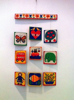 High Contrast Baby Mobile Vibrant Colors Learning Shapes Sixties Seventies Retro Vintage