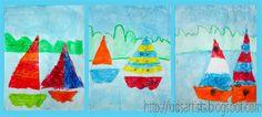 Kids Artists: crayons sail boats