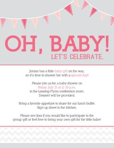 Bridal Shower Thank You Card Wording For Co Workers : Day 25. E-mail invite I designed for my co-workers baby shower! #30Doc