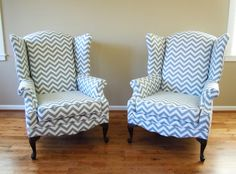 Pair of Reupholstered Wing Back Chairs with Chevron Fabric