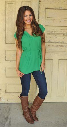 Dottie Couture Boutique - Chiffon Tunic- Green , $29.00 (http://www.dottiecouture.com/chiffon-tunic-green/)