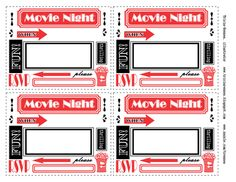 Free printable movie night invitations