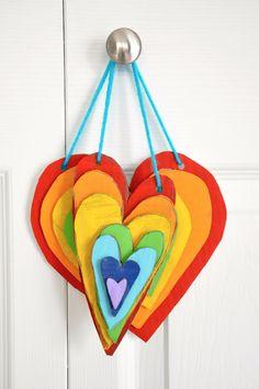 Rainbow Cardboard Art! So cute I want to make it tonight's Valentine project.