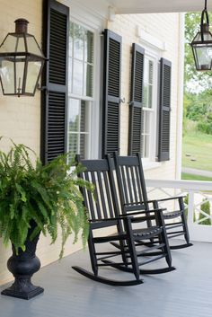 decor, fern, rocker, rocking chairs, southern porches, rock chair, dream houses, black, front porches