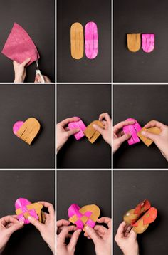 instructions for Danish heart ~ pouch for kids or use as a book page marker.  could be done with paper instead of leather.