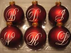 Customize Christmas ornaments with monograms for gifts!