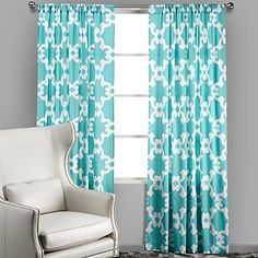 Dress your windows with flair and personality. Montecito Panels in Aquamarine, $49.95 - $59.95