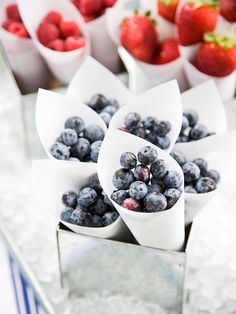 Serving fresh berries in paper cones at a Memorial Day or Fourth of July party - patriotic, pretty and healthy!