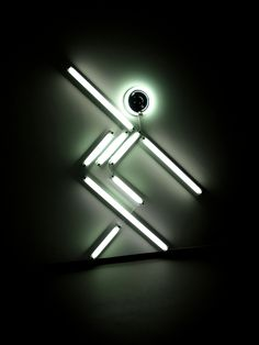 'Nowhere Man X' (Gymnast on Beam), neon sculpture by Iván Navarro