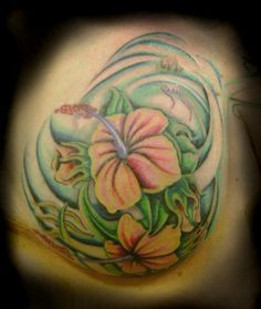 This piece covers the scar of a partial mastectomy, and a total nipple removal. Remember the importance of regular breast exams! in tattoos by Gonzos Tattoo Parlor