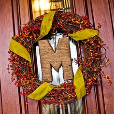 monogram wreath, chartreuse, wreath idea, craft idea, door, fall wreaths, monogram letters, autumn wreaths, berries