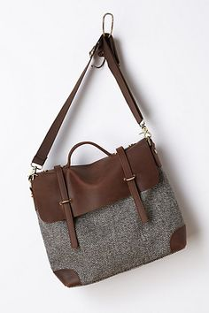 Classic satchel in brown leather and tweed. Sophisticated and functional at the same time. fashion, purs, cloth, style, accessori, bag, anthropologie, tweed satchel, midland tweed