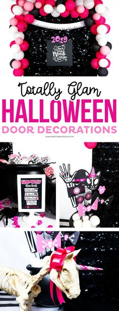 Be the house to remember with these Totally Glam Halloween Door Decorations! #halloween #glamhalloween #halloweendoordecor #halloweendoordecorations #halloweenphotobooth #halloweenphotoprops #trickortreatideas #noncandyhalloweentreats