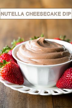 Only FOUR ingredients -  Nutella Cheesecake Dip