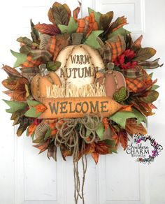 Deco Mesh Fall Autumn Burlap Welcome Wreath For Door or Wall Pumpkins Leaves Rustic