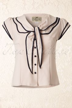 Collectif Clothing - 50s Charlotte blouse Cream and Navy More