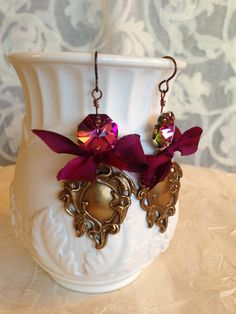 ❥ Burgundy Bow Royal Crest Earrings. Bohemian. Romantic. Royal. Gypsy. Christmas.