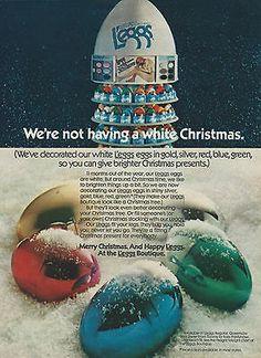 1973 L'eggs Pantyhose Christmas Eggs Holiday Theme Original Print Ad