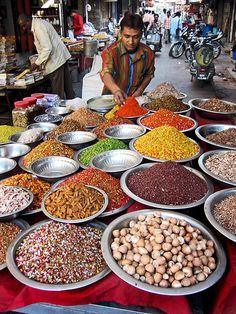 A spice vendor in Ahmedabad, Gujarat, India