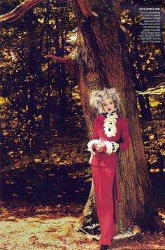 """Natalia Vodianova as Little Red Riding Hood in Chanel for the """"Into the Woods"""" Editorial Vogue September 2009"""
