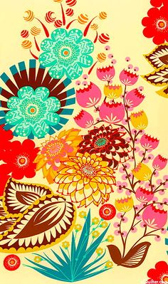 Multicolor floral pattern red yellow aqua www.equilter.com