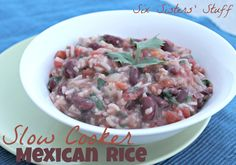 Slow Cooker Mexican Rice      Ingredients:  1 small onion, chopped  1 medium garlic clove, minced  1/2 cup uncooked white rice  1 1/2 cups fat free chicken broth  14 1/2 ounces can of diced tomatoes  15 ounces canned kidney beans, drained and rinsed  1/4 cup of green taco sauce  1/2 teaspoon dried oregano  1/2 teaspoon salt  1/4 teaspoon black pepper  1/8 cup fresh cilantro, chopped  1 tablespoon of green onions, chopped
