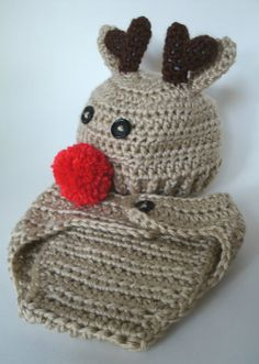 Rudolph Reindeer Baby Hat and Diaper Cover  READY by HelensCrafts, $20.00