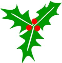 Simple and seasonal, green holly graphic