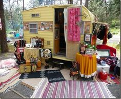 """Each year, for The Farm Chicks Show weekend, lots of cute little vintage travel trailers pull into Spokane."" (I'm also pinning this to my 'Oh the Places You Will Go' board too ~ I've always wanted to go to Spokane & The Farm Chicks Show Weekend sounds amazing! Just need a cute camper...**hint**hint**)."
