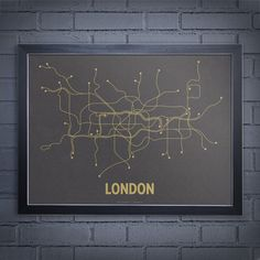 London Screenprint Gray by Lineposters