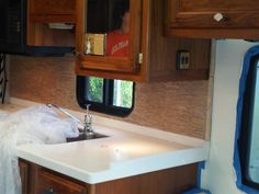 Motorhome - new kitchen tile backsplash installed - still needs to be grouted