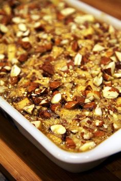 Apple Cinnamon Quinoa Breakfast Bake 1 cup uncooked quinoa 1 1/2 teaspoons cinnamon 1/2 teaspoon nutmeg 1/8 teaspoon ground cloves 2 apples, peeled, diced 1/4 cup raisins 2 eggs 2 cups milk 1/4 cup maple syrup 1/3 cup almonds, chopped