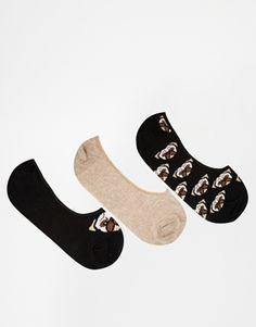 ASOS 3 Pack Pug Pop Socks