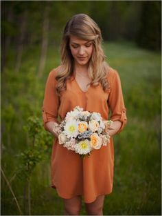 A fun orange bridesmaid dress would look great at a fall wedding #fall #wedding #autumn  Great muted orange dress color. Orange but also sorta neutral