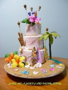 luau / tiki party cake