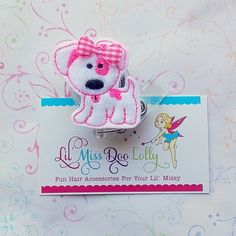 Embroidered Badge Reel-Pink Puppy Felt Applique-Retractable ID Badge Holder-Medical- Teacher-Office- Badge Reel Clip (Set of 1) on Etsy, $5.00