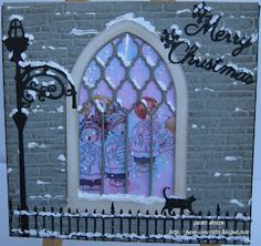 pamscrafts  gothic window, walking cat, wrought iron fence with lamp post from cheery lynn christma card, christmas cards, memori box, church windows, boxes, window card, light, window christma, gothic window