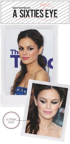 Exaggerate your cat eye then balance it with a pink cheek + lip!
