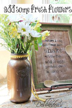 jar craft, painted mason jars, fresh flower