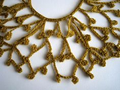 Mustard Gold Color Crocheted Collar by KnitsomeStudio on Etsy