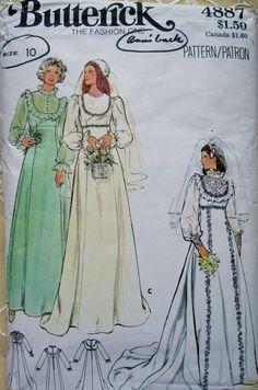 SALE Butterick Pattern 1970s Wedding Dress Size 10 by cambridgest, $8.00