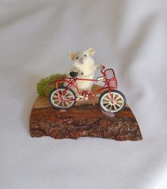 Taxidermy mouse with red bicycle. by NimbleMatters on Etsy